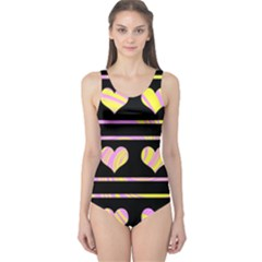 Pink and yellow harts pattern One Piece Swimsuit