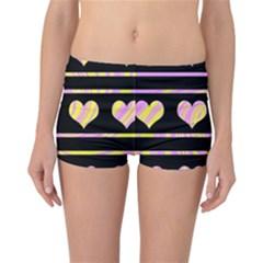 Pink and yellow harts pattern Reversible Bikini Bottoms