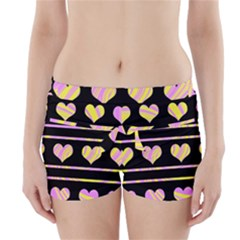 Pink and yellow harts pattern Boyleg Bikini Wrap Bottoms