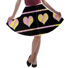 Pink and yellow harts pattern A-line Skater Skirt