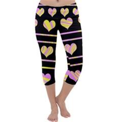 Pink and yellow harts pattern Capri Yoga Leggings