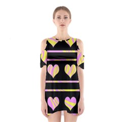 Pink and yellow harts pattern Shoulder Cutout One Piece