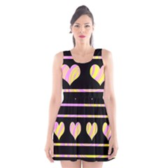 Pink and yellow harts pattern Scoop Neck Skater Dress