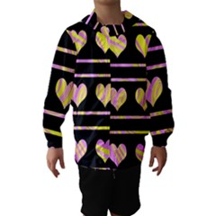 Pink and yellow harts pattern Hooded Wind Breaker (Kids)