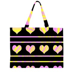 Pink and yellow harts pattern Large Tote Bag