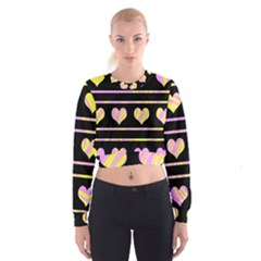Pink and yellow harts pattern Women s Cropped Sweatshirt