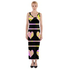 Pink and yellow harts pattern Fitted Maxi Dress