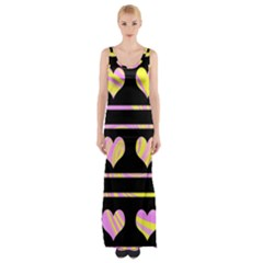 Pink and yellow harts pattern Maxi Thigh Split Dress
