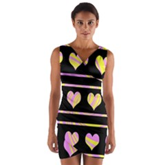 Pink and yellow harts pattern Wrap Front Bodycon Dress