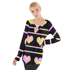 Pink and yellow harts pattern Women s Tie Up Tee