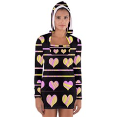 Pink and yellow harts pattern Women s Long Sleeve Hooded T-shirt