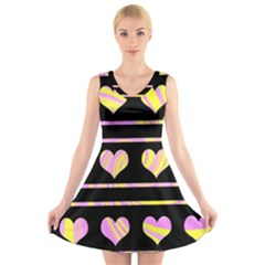 Pink and yellow harts pattern V-Neck Sleeveless Skater Dress