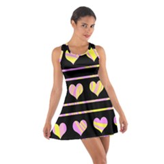 Pink and yellow harts pattern Cotton Racerback Dress