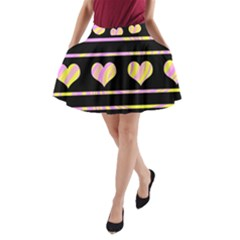 Pink and yellow harts pattern A-Line Pocket Skirt