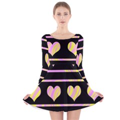 Pink and yellow harts pattern Long Sleeve Velvet Skater Dress