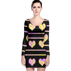 Pink and yellow harts pattern Long Sleeve Velvet Bodycon Dress