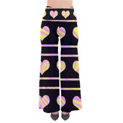 Pink and yellow harts pattern Pants