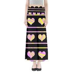 Pink and yellow harts pattern Maxi Skirts