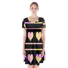 Pink and yellow harts pattern Short Sleeve V-neck Flare Dress