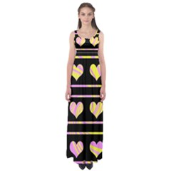 Pink and yellow harts pattern Empire Waist Maxi Dress