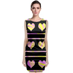 Pink and yellow harts pattern Classic Sleeveless Midi Dress