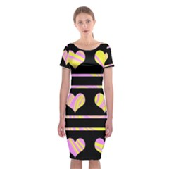 Pink and yellow harts pattern Classic Short Sleeve Midi Dress