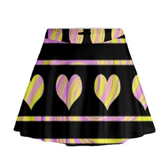 Pink and yellow harts pattern Mini Flare Skirt