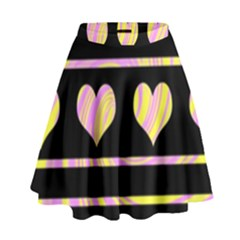 Pink and yellow harts pattern High Waist Skirt