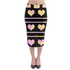 Pink and yellow harts pattern Midi Pencil Skirt