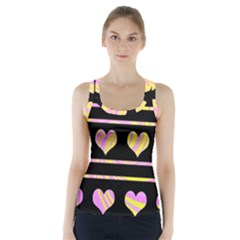 Pink and yellow harts pattern Racer Back Sports Top