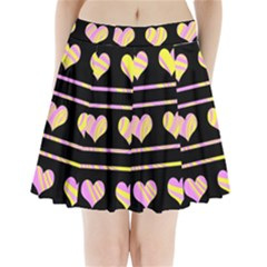 Pink and yellow harts pattern Pleated Mini Skirt