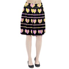 Pink and yellow harts pattern Pleated Skirt