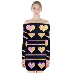 Pink and yellow harts pattern Long Sleeve Off Shoulder Dress