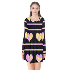 Pink and yellow harts pattern Flare Dress