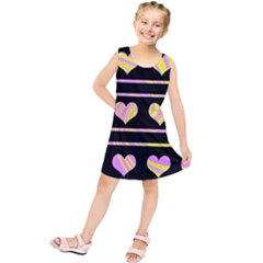 Pink and yellow harts pattern Kids  Tunic Dress
