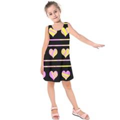Pink and yellow harts pattern Kids  Sleeveless Dress