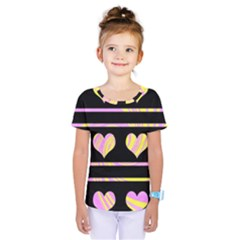 Pink And Yellow Harts Pattern Kids  One Piece Tee