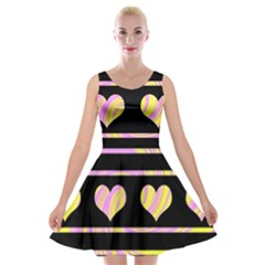 Pink and yellow harts pattern Velvet Skater Dress