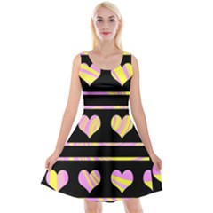 Pink and yellow harts pattern Reversible Velvet Sleeveless Dress