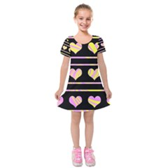 Pink and yellow harts pattern Kids  Short Sleeve Velvet Dress