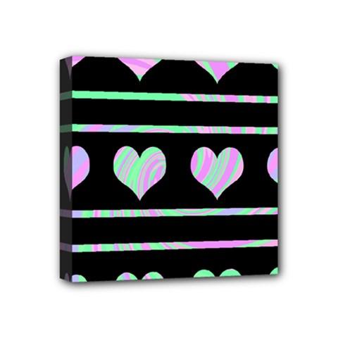 Pastel harts pattern Mini Canvas 4  x 4