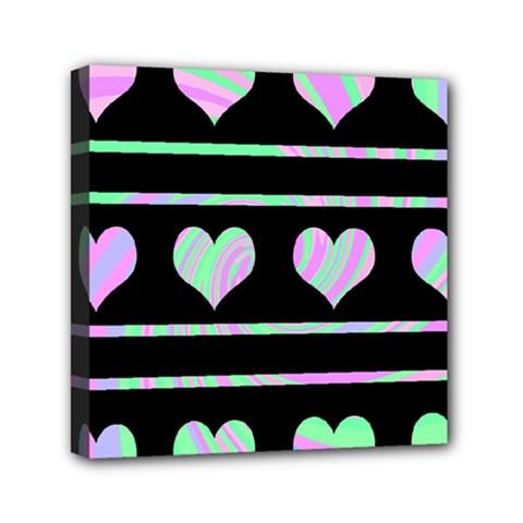 Pastel harts pattern Mini Canvas 6  x 6