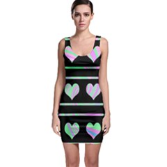 Pastel harts pattern Sleeveless Bodycon Dress