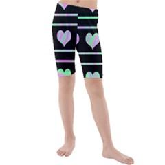 Pastel harts pattern Kids  Mid Length Swim Shorts