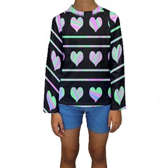 Pastel harts pattern Kids  Long Sleeve Swimwear