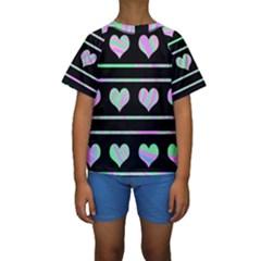 Pastel harts pattern Kids  Short Sleeve Swimwear