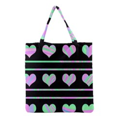 Pastel harts pattern Grocery Tote Bag