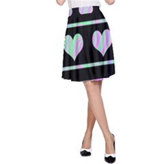 Pastel harts pattern A-Line Skirt