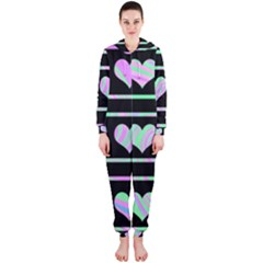 Pastel harts pattern Hooded Jumpsuit (Ladies)