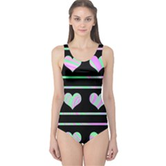 Pastel harts pattern One Piece Swimsuit